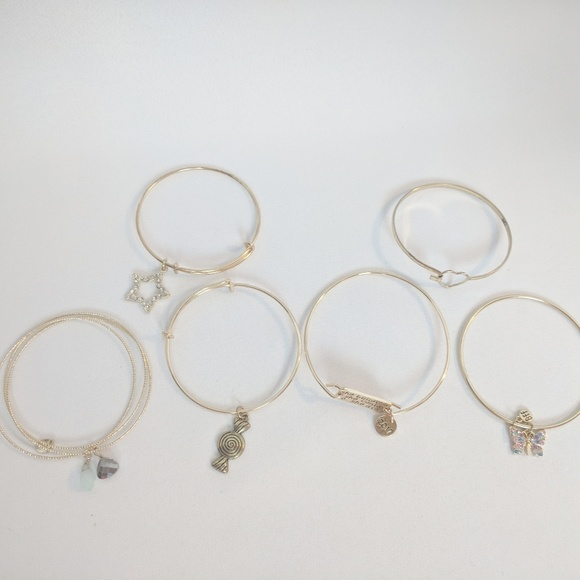 Jewelry - 💢3 for $25💢 6 Gold Tone Bangle Charm Bracelets